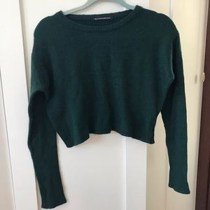 BRANDY MELVILLE CROPPED GREEN SWEATER